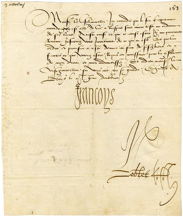 Lettre de Francois Ier