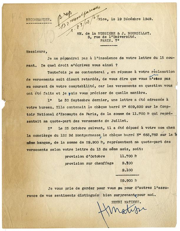 Matisse-lettre-signee